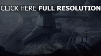 station bataille futuriste montagne enneigé