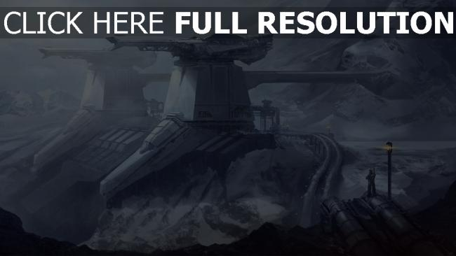 fond d'écran hd station bataille futuriste montagne enneigé