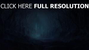 route sinistre forêt château nuit