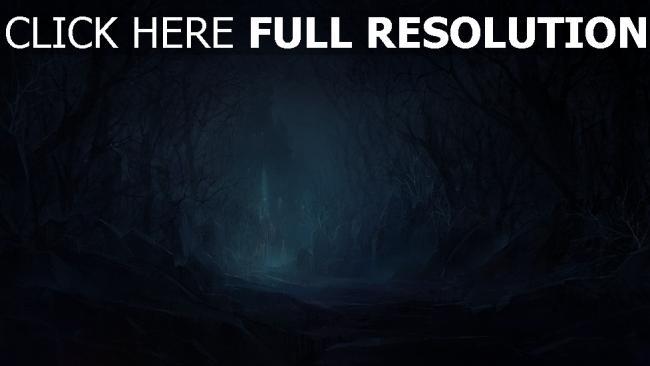 fond d'écran hd route sinistre forêt château nuit