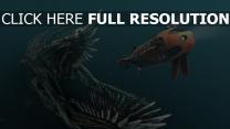 sous l'eau monstre bouche sous-marin