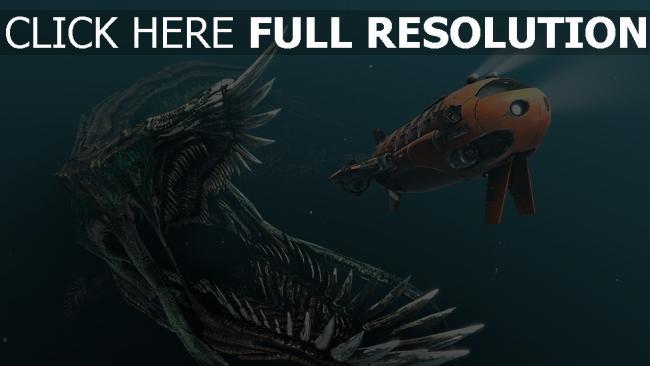 fond d'écran hd sous l'eau monstre bouche sous-marin