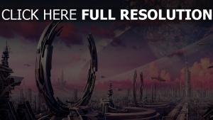 portail futuriste mégalopole vaisseau spatial