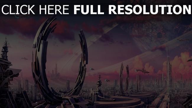 fond d'écran hd portail futuriste mégalopole vaisseau spatial