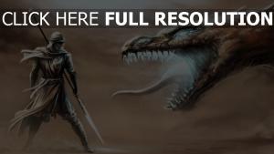 dragon bouche illuminée guerrier lance