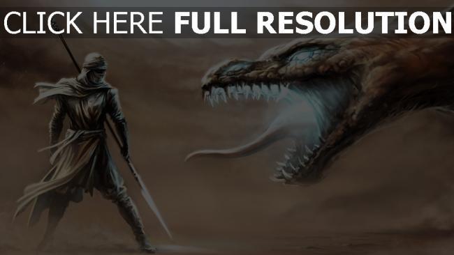 fond d'écran hd dragon bouche illuminée guerrier lance