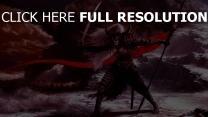 guerrier armure lance casque nuageux