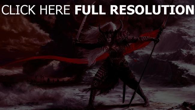 fond d'écran hd guerrier armure lance casque nuageux