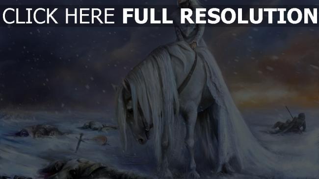 fond d'écran hd blond cavalière champ de bataille tempête de neige
