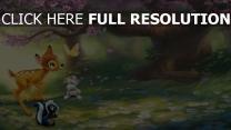bambi skunk lapin papillon clairière