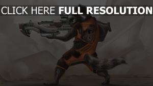 gardiens de la galaxie rocket raccoon fusil d'assaut
