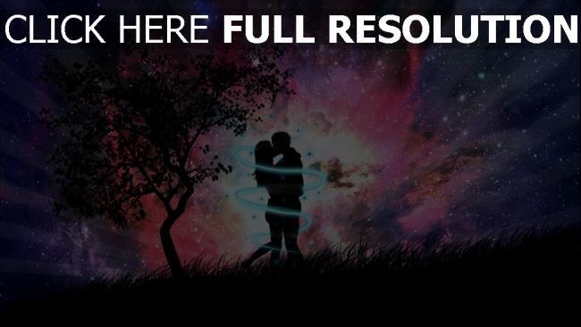 fond d'écran hd nuit couple étreinte arbre sort de magie
