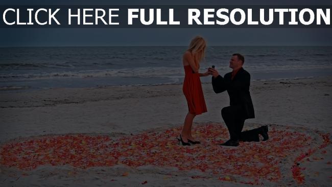 fond d'écran hd proposition de mariage rivage pétale