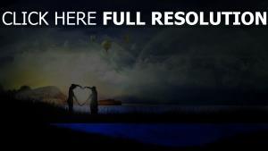 cœur geste nuage soirée aérostat