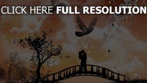 couple arbre colombe soirée