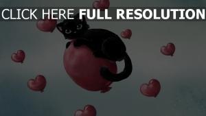 chat noir ballon cœur