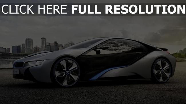 fond d'écran hd bmw i8 voiture de sport hybride vue de côté
