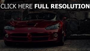 dodge viper voiture de sport rouge vue de face