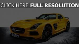 mercedes sls amg coupé voiture de sport jaune