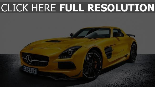 fond d'écran hd mercedes sls amg coupé voiture de sport jaune
