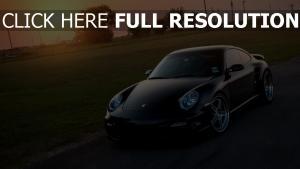 porsche 911 coucher du soleil surface brillante voiture de sport