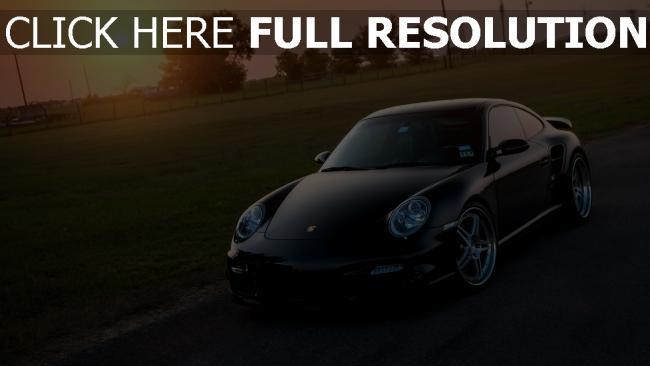 fond d'écran hd porsche 911 coucher du soleil surface brillante voiture de sport