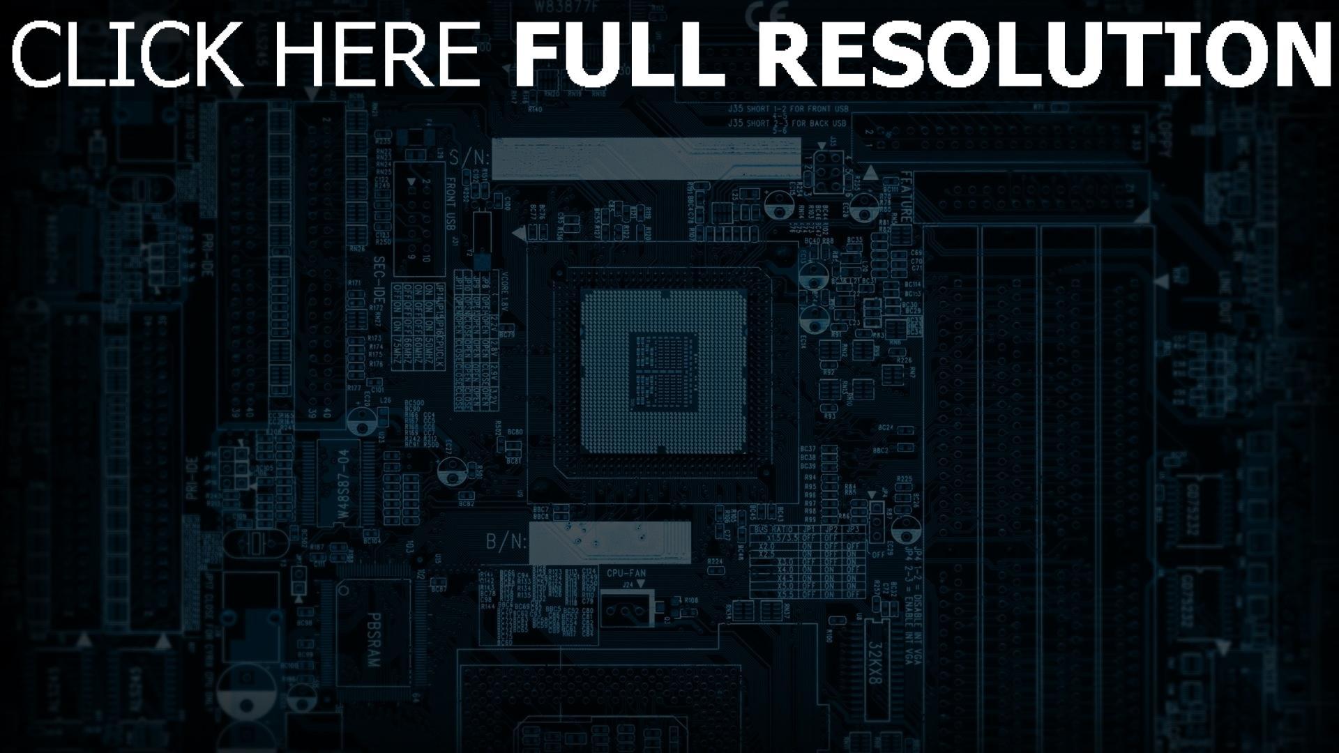 fond d'écran 1920x1080 microcircuit bleu gros plan