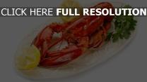 homard délicieux citron plat