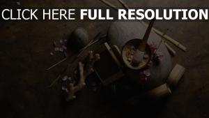 gingembre bambou vue d'en haut