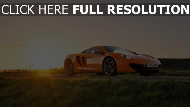 fond d'écran hd mclaren orange champ coucher du soleil voiture sportive de prestige