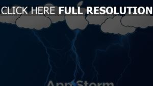 apple logo nuages foudre