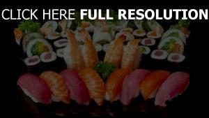 sushi, poisson makis composition délicieux