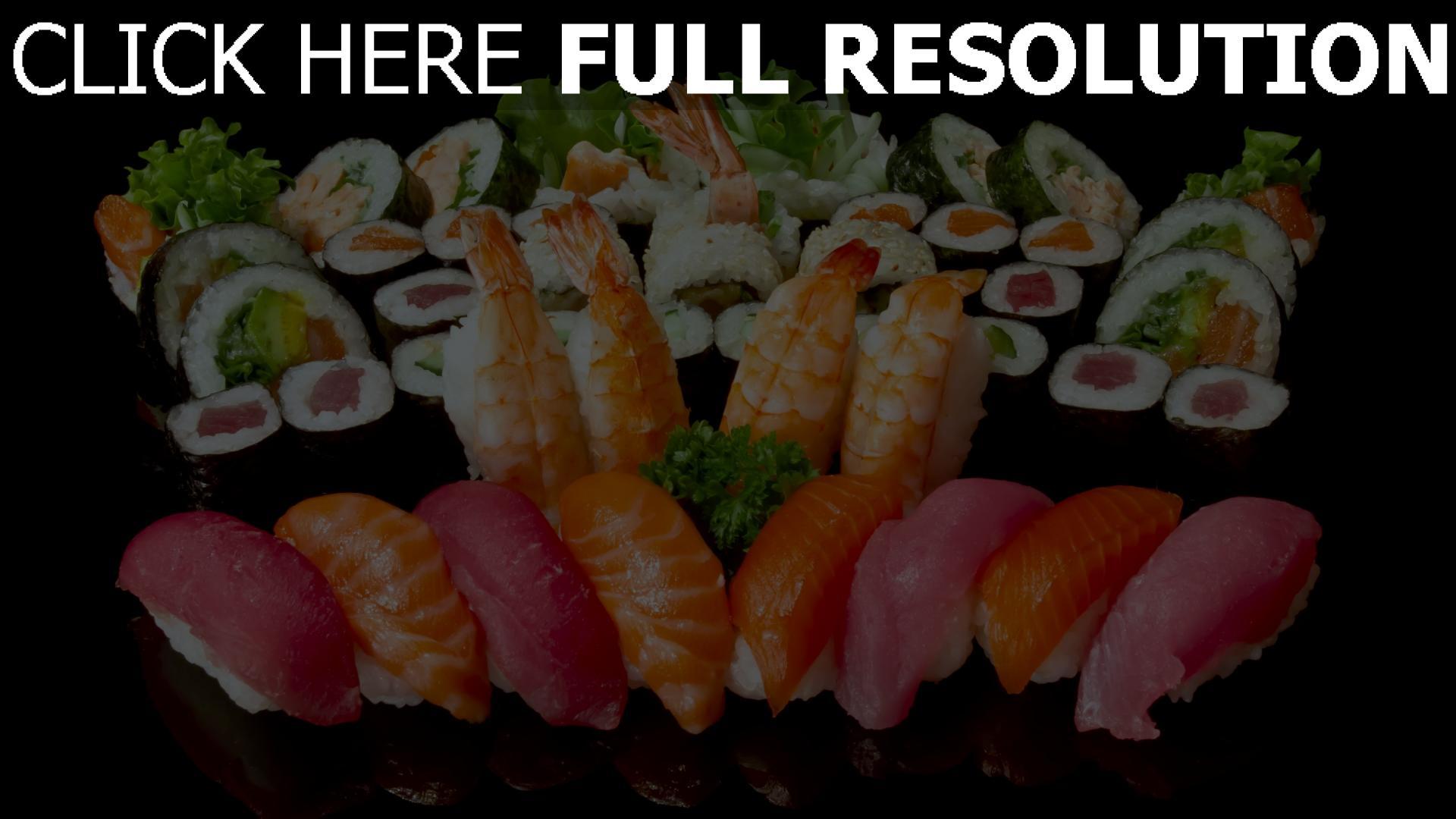 fond d'écran 1920x1080 sushi, poisson makis composition délicieux