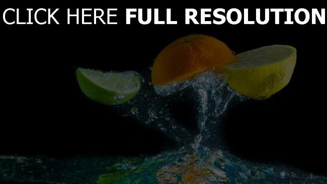 fond d'écran hd lime orange citron éclaboussures