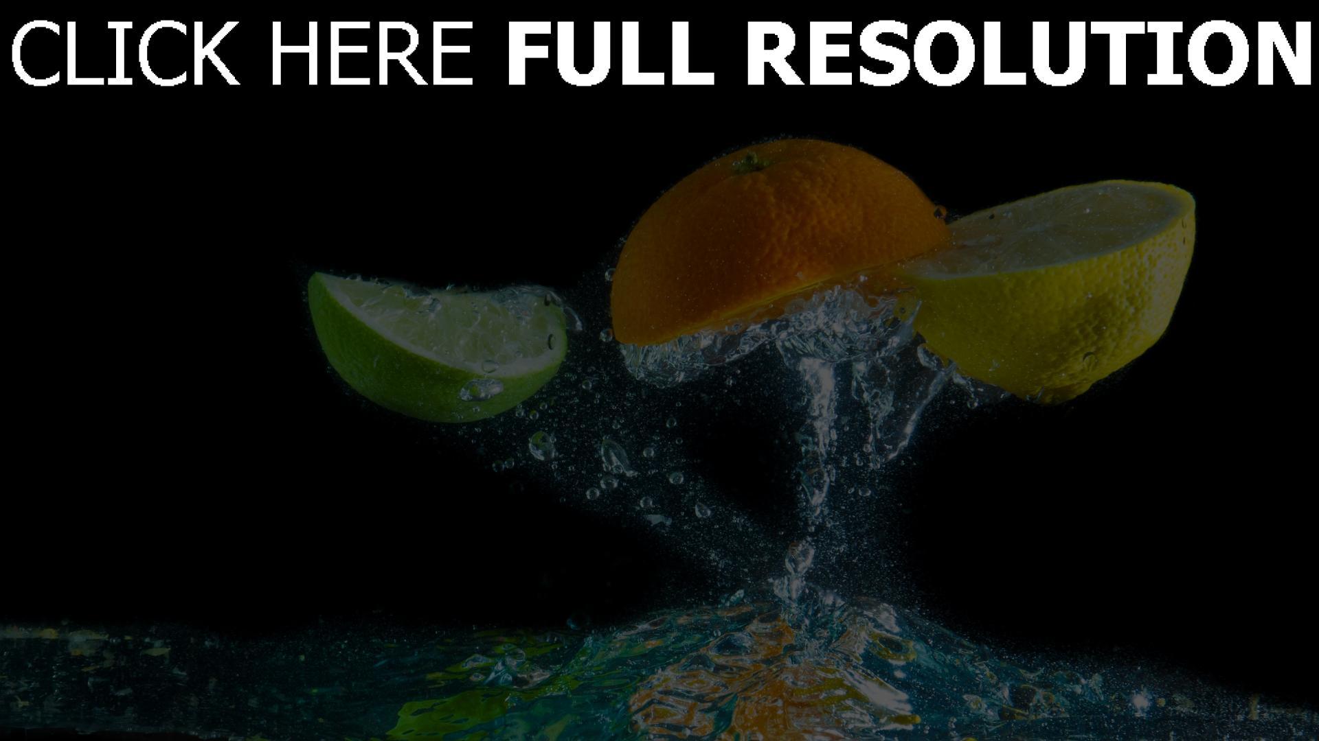 fond d'écran 1920x1080 lime orange citron éclaboussures
