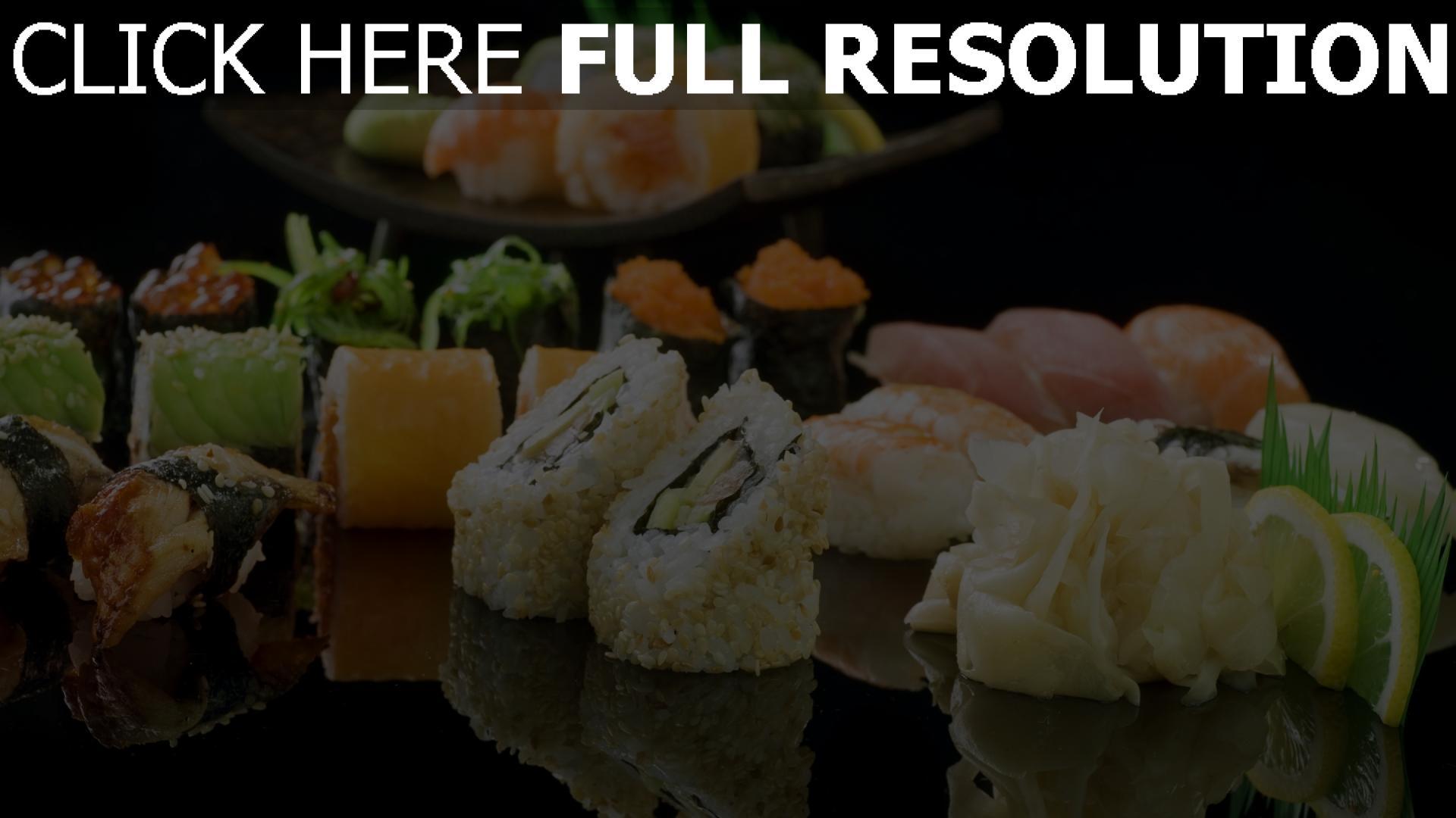 fond d'écran 1920x1080 sushi makis gros plan citron