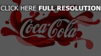 coca-cola éclaboussure inscription
