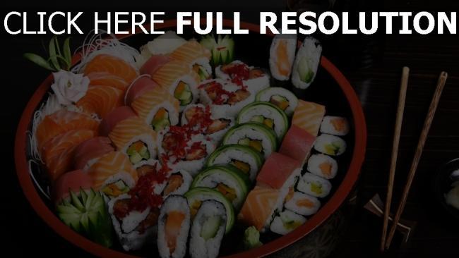 fond d'écran hd sushi plat makis délicieux