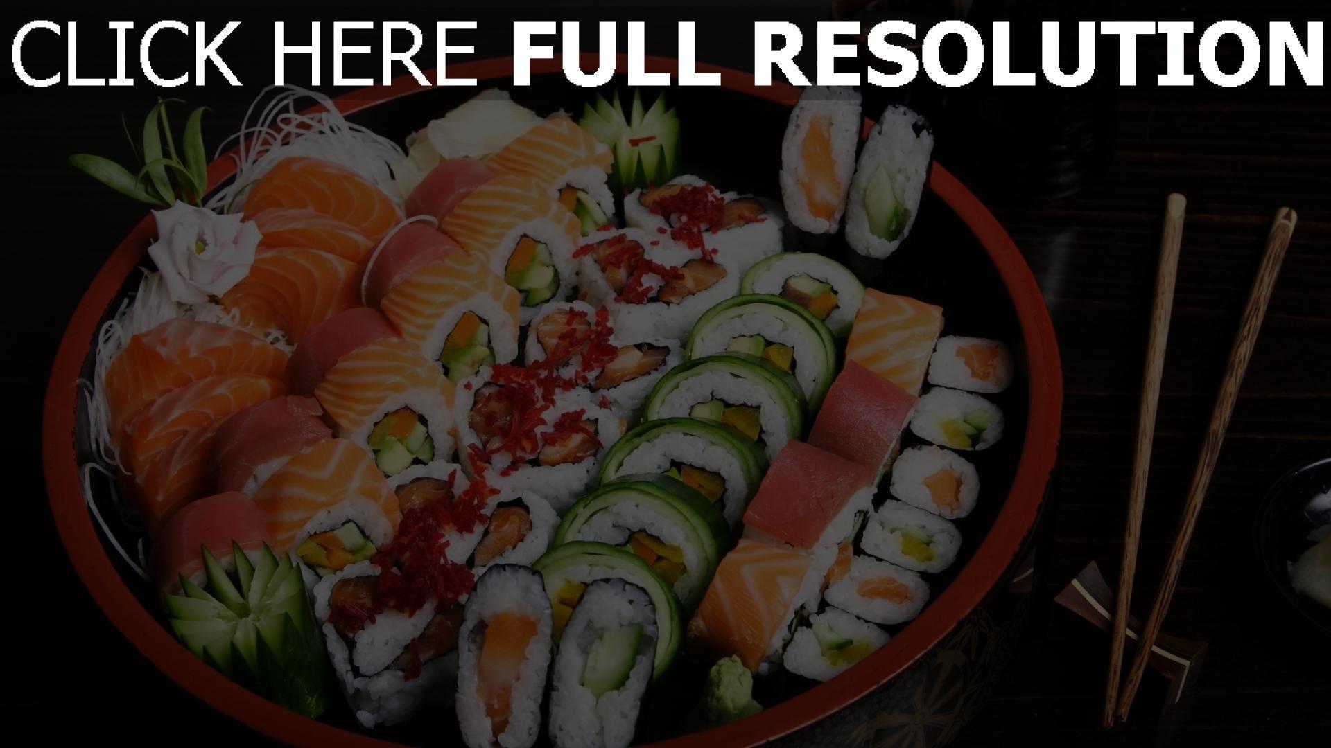 fond d'écran 1920x1080 sushi plat makis délicieux