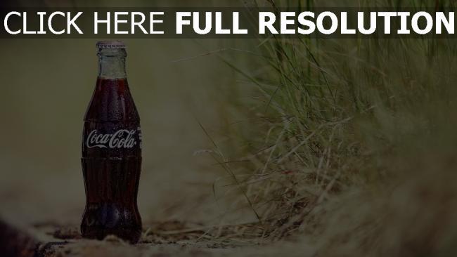 fond d'écran hd coca-cola bouteille herbe arrière-plan flou