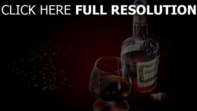fond d'écran hd hennesy verre cognac bouteille