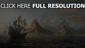navire de ligne peinture mer horizon