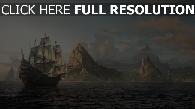 fond d'écran hd navire de ligne peinture mer horizon