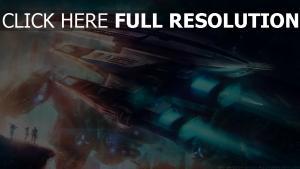 vaisseau spatial silhouette fumée illuminée
