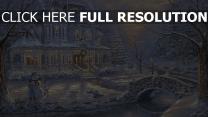 mansion illuminée enneigé noël bonhomme de neige