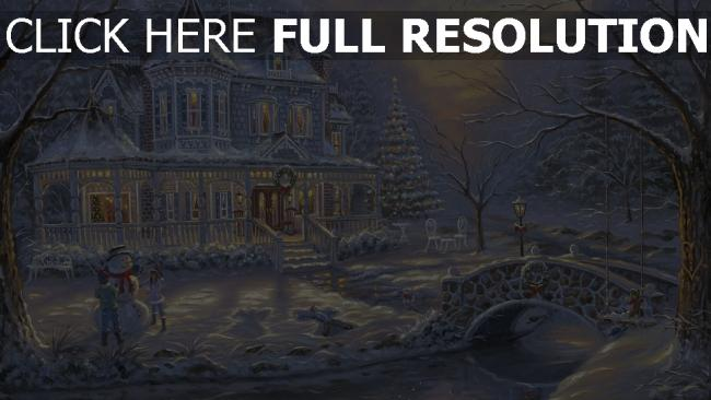 fond d'écran hd mansion illuminée enneigé noël bonhomme de neige