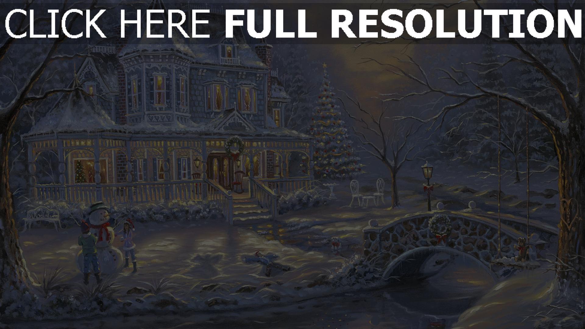 fond d'écran 1920x1080 mansion illuminée enneigé noël bonhomme de neige