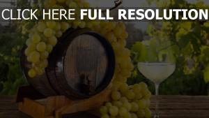 verre vin raisins baril