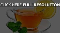 thé tasse vue de face citron