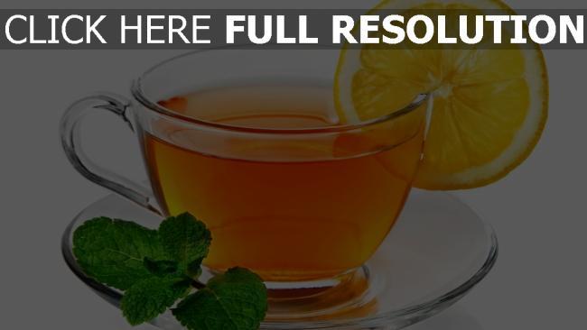 fond d'écran hd thé tasse vue de face citron